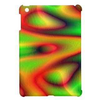 IPAD MINI CASE - Orangy Red & Green Fractal Design