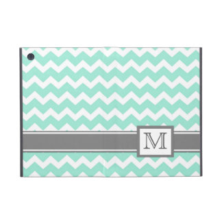 iPad Mini Custom Monogram Grey Aqua Chevrons Case For iPad Mini