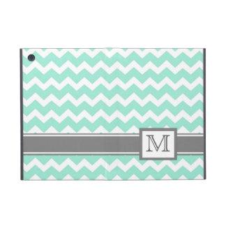 iPad Mini Custom Monogram Grey Aqua Chevrons iPad Mini Case