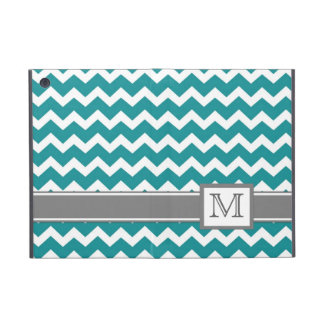 iPad Mini Custom Monogram Grey Teal Chevrons iPad Mini Cover