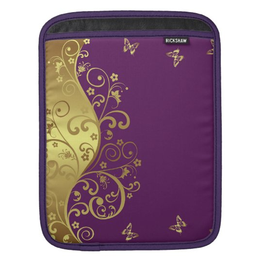 iPad Sleeve--Red Violet & Gold Swirls Sleeve For iPads