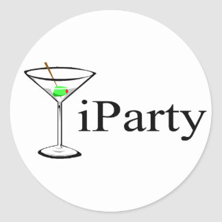 iParty (Martini) Round Sticker