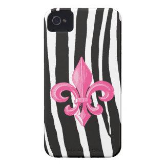 iPhone4/4s ID case - Zebra & Hot Pink Fleur de Lis