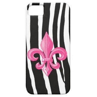 iPhone4 ID case - Zebra & Hot Pink Fleur de Lis
