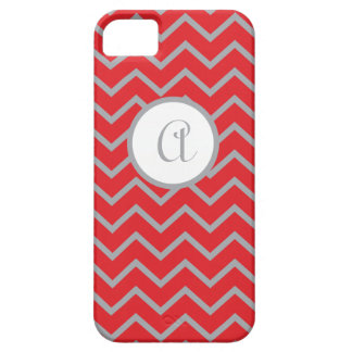 iPhone5 case Personalized, Red with Gray Chevrons
