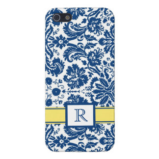 iPhone5 Custom Monogram Blue Lemon Floral Damask iPhone 5/5S Cover