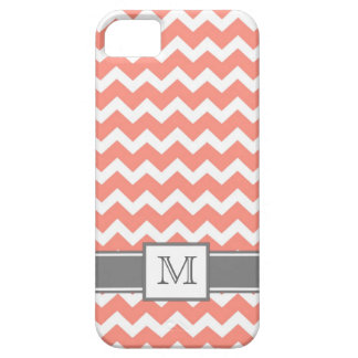 iPhone5 Custom Monogram Grey Coral Chevron Barely There iPhone 5 Case