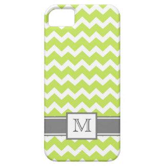 iPhone5 Custom Monogram Grey Lime Chevron iPhone 5 Case