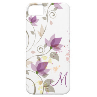 iPhone5 Girly Purple Lavender Floral Monogram iPhone 5 Cases