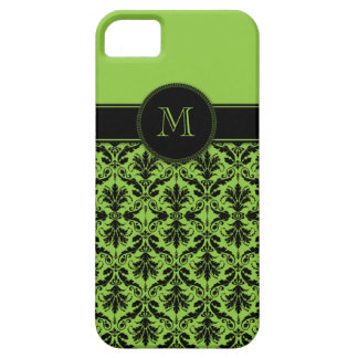 iPhone5 Lime Green Black Damask Monogram Case For The iPhone 5