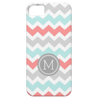 iPhone5s Coral Teal Chevron Monogram iPhone 5 Cases