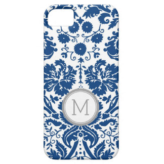 iPhone5s Navy Blue Damask Monogram iPhone 5 Covers