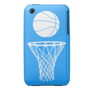 iPhone 3 Basketball Silhouette White on Blue iPhone 3 Cover