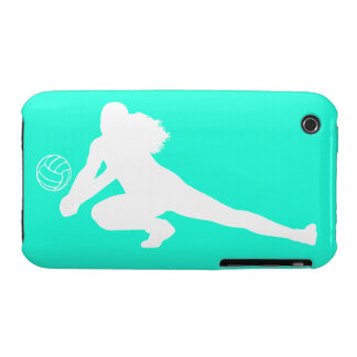 iPhone 3 Case-Mate Dig Silhouette White on Turquoi