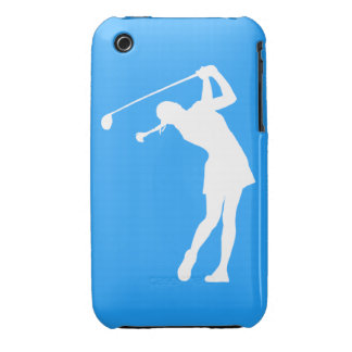 iPhone 3 Lady Golfer Silhouette White on Blue iPhone 3 Case-Mate Cases