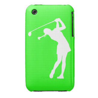 iPhone 3 Lady Golfer Silhouette White on Green iPhone 3 Case