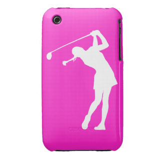 iPhone 3 Lady Golfer Silhouette White on Pink Case-Mate iPhone 3 Case