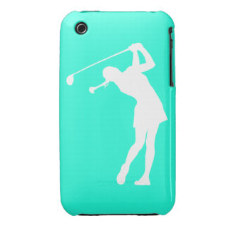 iPhone 3 Lady Golfer Silhouette White on Turquoise iPhone 3 Case-Mate Case