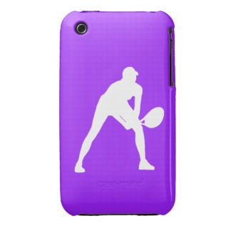 iPhone 3 Tennis Silhouette White on Purple Case-Mate iPhone 3 Cases