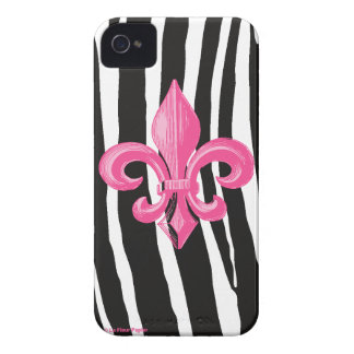 iPhone 4/4s Barely There - Zebra w/ Hot Pink Fleur Case-Mate iPhone 4 Case