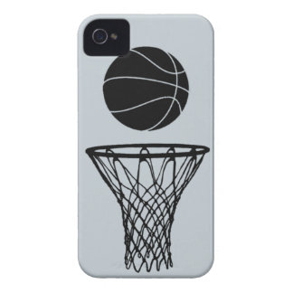 iPhone 4 Basketball Silhouette Black on SIlver iPhone 4 Covers