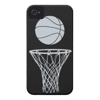 iPhone 4 Basketball Silhouette Silver on Black iPhone 4 Case-Mate Cases