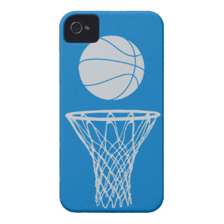 iPhone 4 Basketball Silhouette Silver on Blue iPhone 4 Case