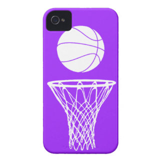 iPhone 4 Basketball Silhouette White on Purple iPhone 4 Covers