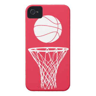 iPhone 4 Basketball Silhouette White on Red iPhone 4 Case-Mate Case