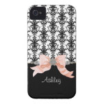 IPhone 4 Bow Floral Leaf Damask Ribbon Jewels Name iPhone 4 Case-Mate Cases
