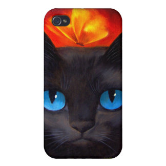 iPhone 4 Case Black Cat Butterfly Painting