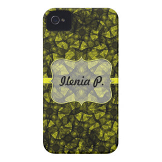 iPhone 4 Case fractal art black and yellow