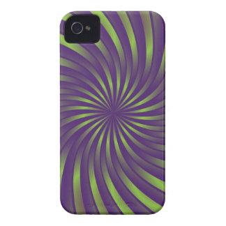 iPhone 4 Case green and violet spiral vortex