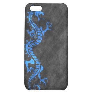 iPhone 4 Case - Grunge Dragon on Black blue