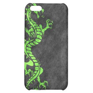 iPhone 4 Case - Grunge Dragon on Black (green)