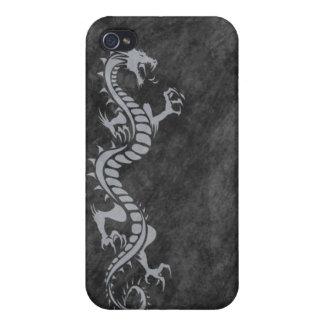 iPhone 4 Case - Grunge Dragon on Black (grey)
