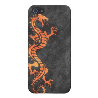 iPhone 4 Case - Grunge Dragon on Black (orange)