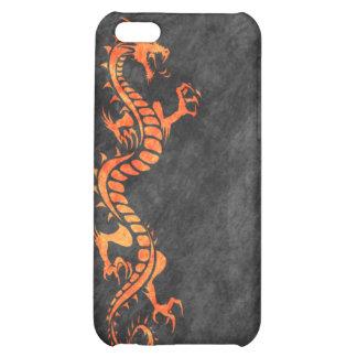 iPhone 4 Case - Grunge Dragon on Black orange