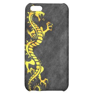 iPhone 4 Case - Grunge Dragon on Black yellow