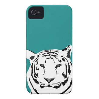 iPhone 4 Case - Tiger on Teal