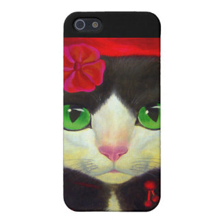 iPhone 4 Case Tuxedo Cat Red Flower Painting Art