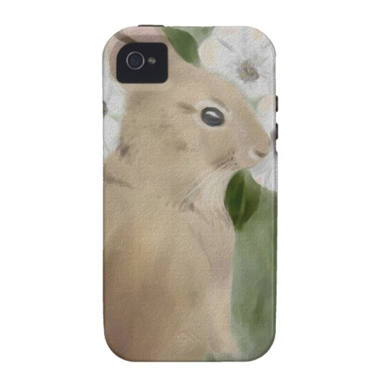 iPhone 4 Case with Watercolor Bunny and Flowers