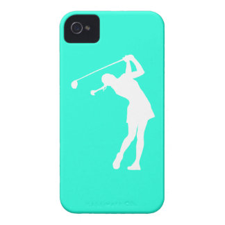 iPhone 4 Lady Golfer Silhouette White on Turquoise iPhone 4 Case-Mate Case
