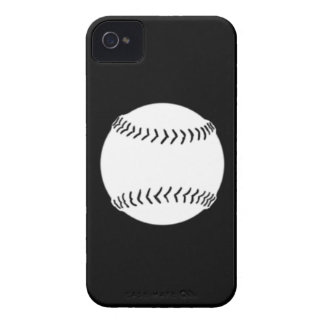 iPhone 4 Softball Silhouette White on Black iPhone 4 Case-Mate Cases