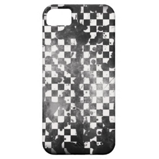 Iphone 5/5S White on Black Checker iPhone 5 Cases