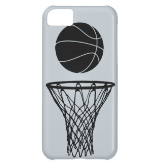 iPhone 5 Basketball Silhouette Black on SIlver iPhone 5C Case