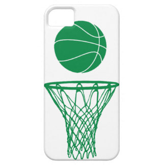 iPhone 5 Basketball Silhouette Green on White iPhone 5 Cases