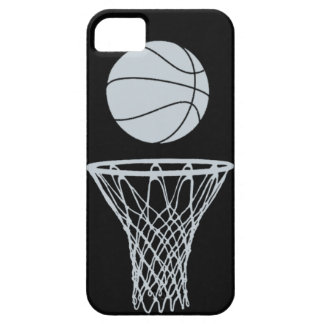 iPhone 5 Basketball Silhouette Silver on Black iPhone 5 Cover