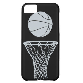 iPhone 5 Basketball Silhouette Silver on Black iPhone 5C Case