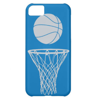 iPhone 5 Basketball Silhouette Silver on Blue iPhone 5C Case